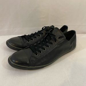 Black Leather Low Top Converse 12 All Stars Chucks